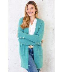 gebreid vest knopen turquoise
