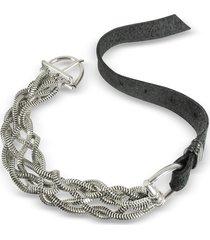 giacomo burroni leather bracelet w/silver braid