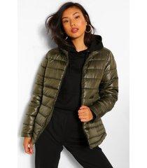 gewatteerde getailleerde jas met hoge hals, khaki