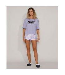 pijama feminino nasa manga curta lilás