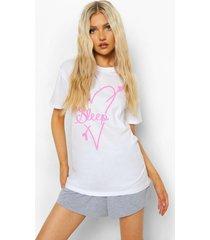tall love sleep pyjama set met t-shirt en shorts, white