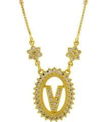 colar horus import letra v zircônia banhado ouro 18k feminino