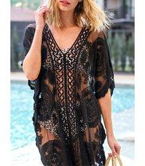 encaje hueco diseño medias mangas playa vestido