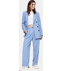 blue twill peg suit pants - blue