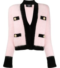 balmain velvet trim cropped cardigan - pink