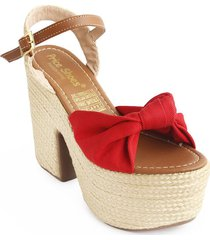 priceshoes calzado dama tacon yute 182p4501rojo