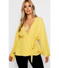 plus plunge kimono sleeve top, mustard