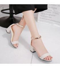 sandalias de punta abierta de tacón de moda de mujer sandalias -blanco