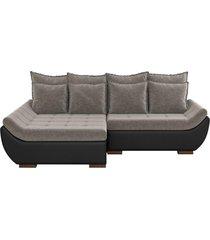 sofã¡ com chaise esquerda 5 lugares sala de estar 337cm inglãªs linho marrom/corino preto - gran belo - preto - dafiti