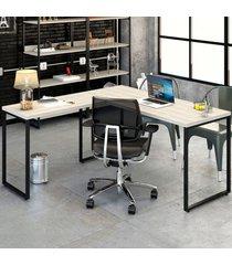 mesa para escritório angular kuadra snow - compace