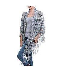 100% alpaca shawl, 'grey hills' (peru)