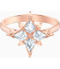 anello con motivo swarovski symbolic star, bianco, placcato oro rosa