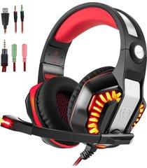 audífonos gamer, hot gm-2 3.5mm juego gaming auriculares headband con micrófono luz led para xbox tablet pc portátil teléfonos móviles ps (negro rojo)
