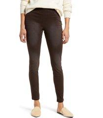 women's hue az ultrasoft denim leggings, size x-small - brown