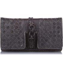 bottega veneta intrecciato lizard leather clutch bag black sz: m