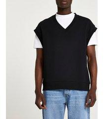 river island mens black v neck sleeveless sweatshirt