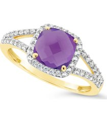 amethyst (1-1/3 ct. t.w.) and created white sapphire (1/4 ct. t.w.) ring in 10k yellow gold