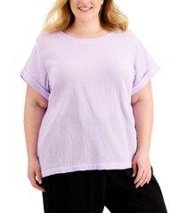 calvin klein plus size textured cotton top