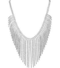 collana in metallo rodiato con multifili lunghi con strass per donna