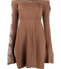 antonella rizza fine-knit off-shoulder dress - brown
