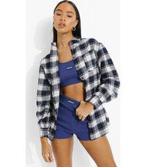 geruite oversized blouse, blue