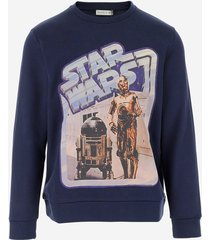 etro designer sweatshirts, etro x star wars blue cotton men's sweatshirt
