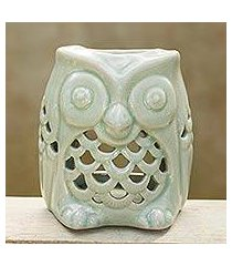 ceramic oil warmer, 'cozy owl in green' (thailand)