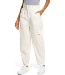 bp. paperbag waist cotton blend pants, size small in ivory- pink phoebe check at nordstrom