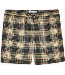 mens navy green, red and stone check pull on shorts