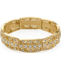 2028 gold-tone crystal stretch bracelet