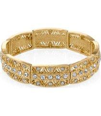 2028 gold-tone crystal stretch bracelet