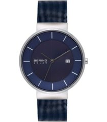 bering men's solar powered blue stainless steel mesh bracelet watch 39mm