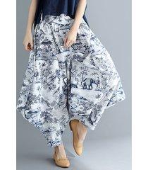 pantaloni harem in cotone con stampa elastica in vita