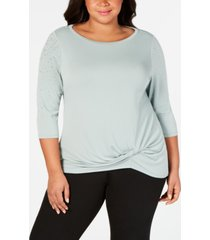belldini plus size embellished-sleeve twist-front top
