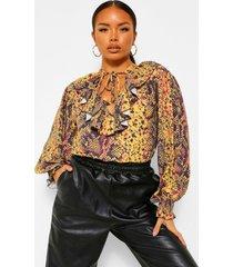 slangenprint blouse met ruches en nek strikjes, rust