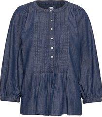 three-quarter sleeve pleated popover shirt in tencel™ blus långärmad blå gap