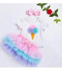3pcs/ice cream romper+rainbow tutu skirt+pink ribbon headgear
