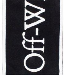 off-white black logo knit scarf