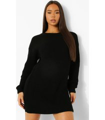 official gebreide sweatshirt jurk, black