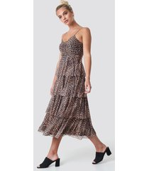 na-kd mesh layered slip dress - brown