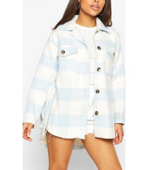 petite flannel belted wool look shirt jacket, blue