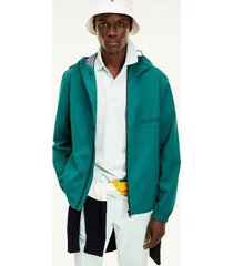 tommy hilfiger men's hooded tech jacket rural green - xxl