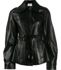 nanushka oversized sleeve belted leather jacket - black
