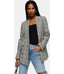 gray and yellow check double breasted blazer - grey
