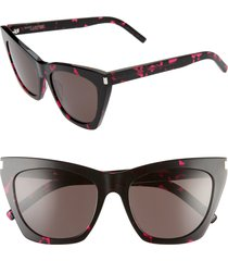 women's saint laurent kate 55mm cat eye sunglasses - black pink havana/ black