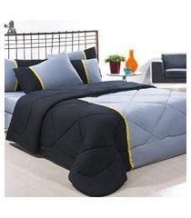 coordenado edredom + jogo de cama queen aconchego premium 06 peças - preto/ cinza