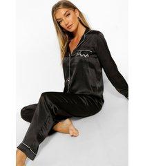 geborduurde satijnen 'sleep' pyjama set, black