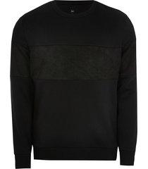 river island mens black slim fit long sleeve sweatshirt