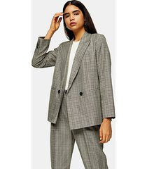 petite mint check double breasted blazer - mint