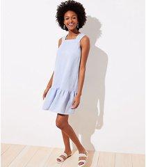 loft petite chambray square neck flounce dress